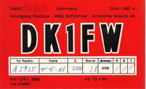 QSL card from DK1FW in Germany